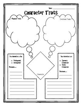 Character Traits Graphic Organizer- Analyze physical and