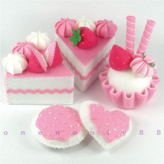 Felt Cake Hot Pink Princess Tea Party Dessert Set  by onenonly88