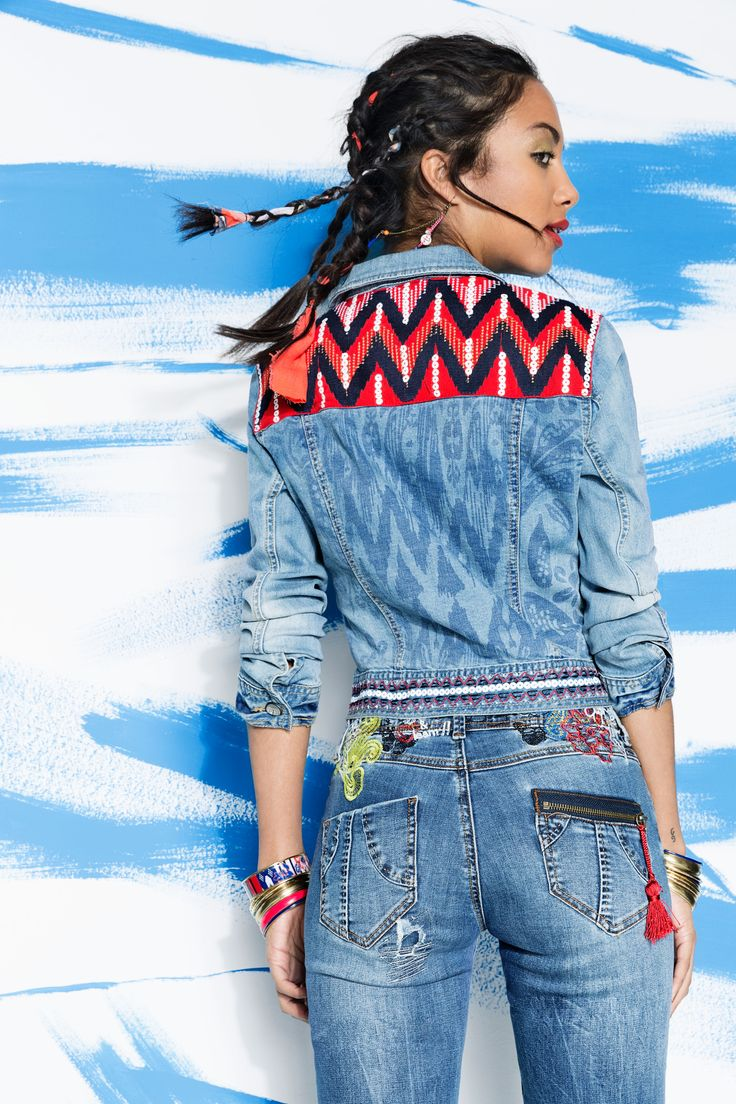 This exotic inspiration combines perfectly with her, her origins are african american, indoamerican and ibicencan. Like this denim jacket done by ethnic print mixed up with embroidery inspired in Miami, India and    Ibiza. http://www.desigual.com/en_GB/women/clothing/coats-jackets/prod-vision-61E29D7