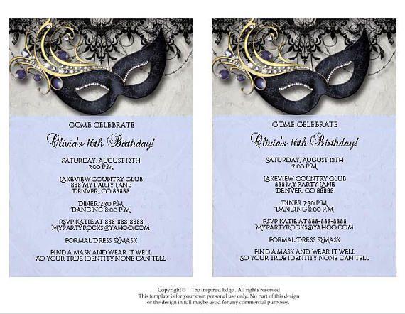 Masquerade Invitation Masquerade Party Invitation Masquerade Etsy Masquerade Invitations Masquerade Party Invitations Masquerade Party