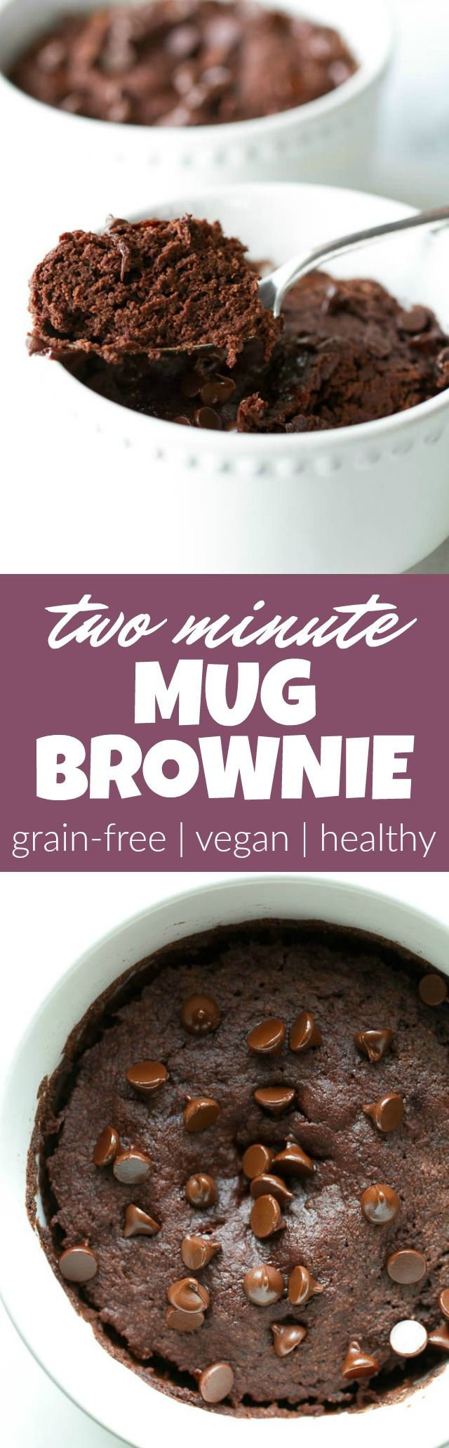 This healthy two minute mug brownie is so fudgy, moist, and chocolatey that you'd never be able to tell it's made with NO flour, butter, or oil. Satisfy those chocolate cravings with a vegan, gluten-free, and paleo treat that's super quick and easy to make   runningwithspoons.com