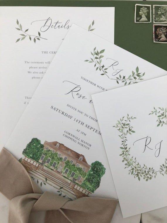 Custom Wedding Venue Watercolor Painting Green And Blush Wedding