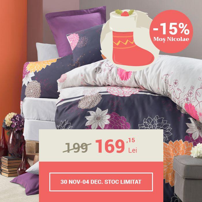 Lenjerie de pat din bumbac Valentini Bianco VKR10 Baume Mov (-15%)