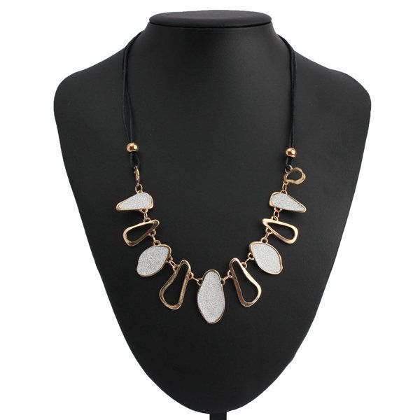 Irregular Geometric Frosted Statement Choker Necklace For Women