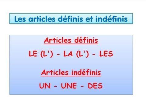 Los artículos definidos e indefinidos (Articles defines et indéfinis)  Définis: Le (L') – La (L') – Les  Indéfinis: Un – Une - Des
