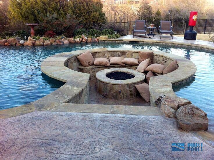 I 39 d never leave this pool i love the walk in seating area Sunken fire pit ideas