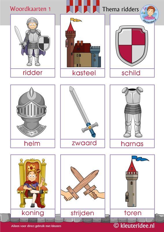 Woordkaarten 1 thema ridders voor kleuters, kleuteridee, Preschool knights theme, free printable.