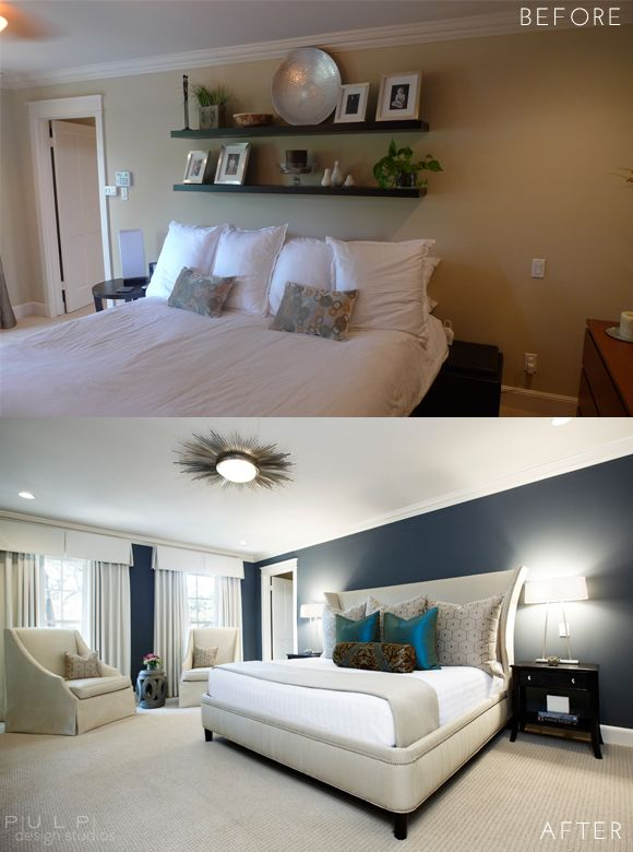 Use mostly white (light) paint. Pulp Elegant Mod Renovation Before and After Master