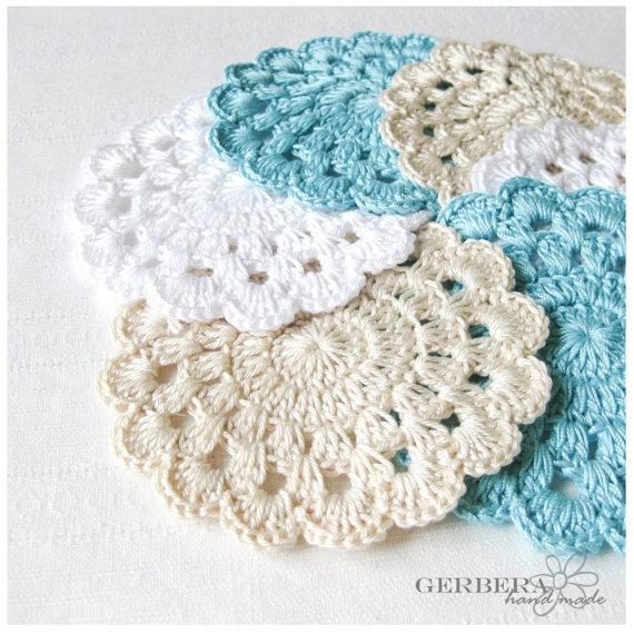 Turquoise Crochet Coasters/Doilies of Summer from Gerbera Handmade
