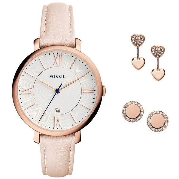 Fossil Women's Jacqueline Rose Goldtone Stainless Steel Watch and... ($155) ❤ liked on Polyvore featuring jewelry, watches, blush, stainless steel jewellery, gold tone jewelry, water resistant watches, stainless steel jewelry and gold-tone watches