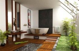 river rocks under glass - nice texture  love the wood flooring and the step up to the tub