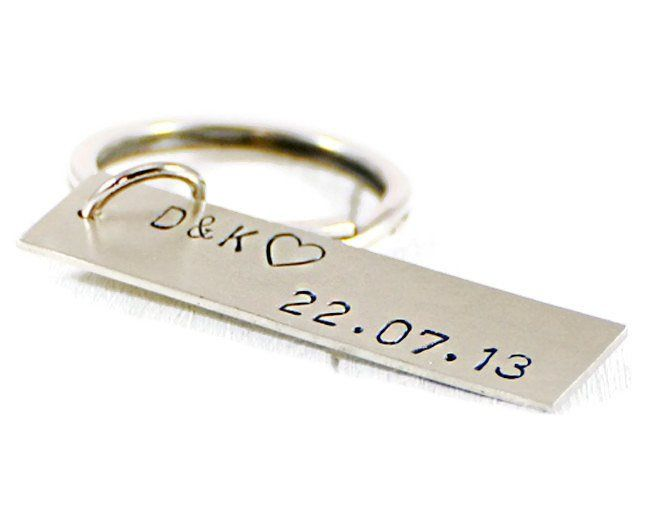 Initials Date Personalized SilverTag Keychain.