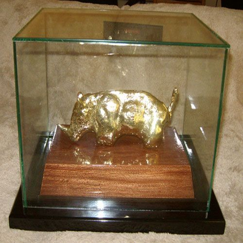 Custom gift for Mapungubwe Institute for Strategic Reflection. Sculpted & molded resin plated in bronze, in glass box, mounted onto wooden base. Sir Prize Trophies - 149 Oak Ave, Ferndale, Randburg - 082 563 4098