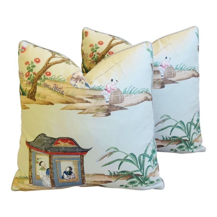 Gp & J Baker Chinoiserie Floating Pavilion Feather/Down Pillows 19″ Square – Pair