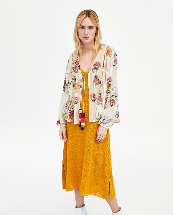 ZARA - WOMAN - EMBROIDERED DOTTED MESH BLOUSE