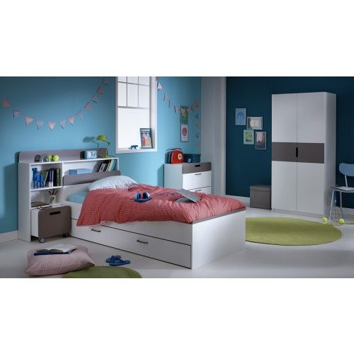 chambre compl te someo compos e d 39 un lit 90x190 200 en bois coloris blanc perle avec son. Black Bedroom Furniture Sets. Home Design Ideas