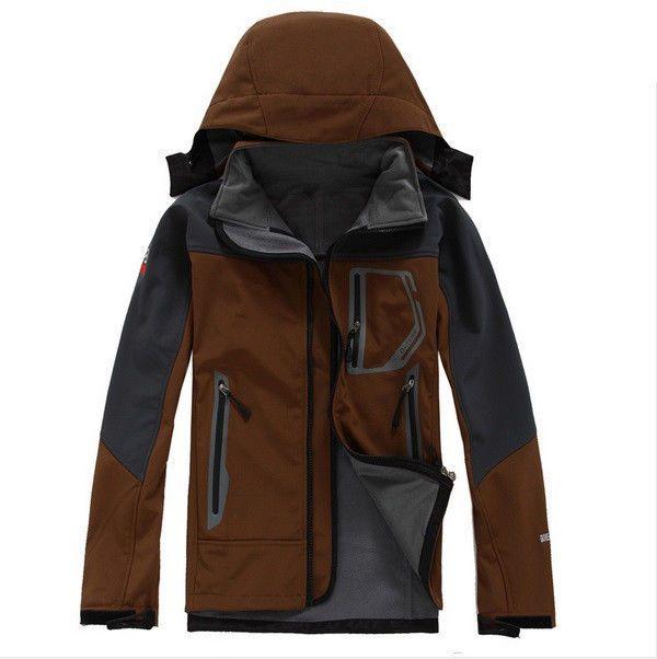 Men Outdoor Jacket Soft Shell Fleece Hiking Sport Coat Hooded Wind Autumn Winter