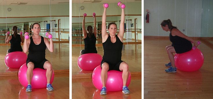 Pregnancy exercise on a fit ball arm workout 2