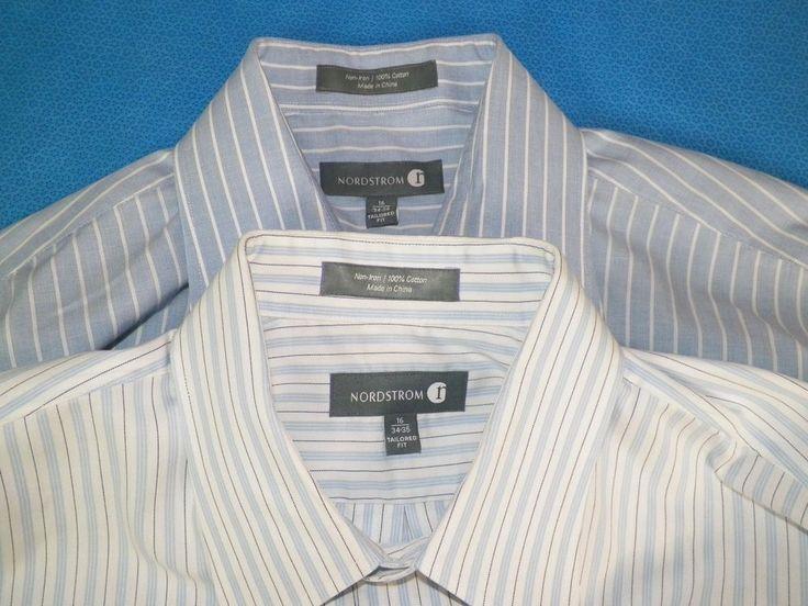 Nordstrom Lot of 2 Mens Long Sleeve Non Iron Dress Shirt Sz 16 34/35 #4 #Nordstrom