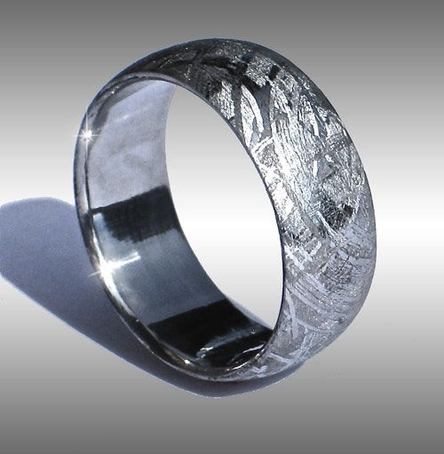style 001 arizona skies seamless domed gibeon meteorite ring with beautiful widmanstatten - Meteorite Wedding Ring