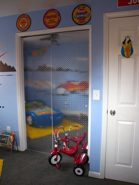 Josh's Rockin' Race Car Room Kids Room Tour   Apartment Therapy - cool idea for closet door.