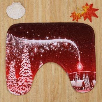 Christmas Village Pattern 3 Pcs Bathroom Toilet Mat - RED