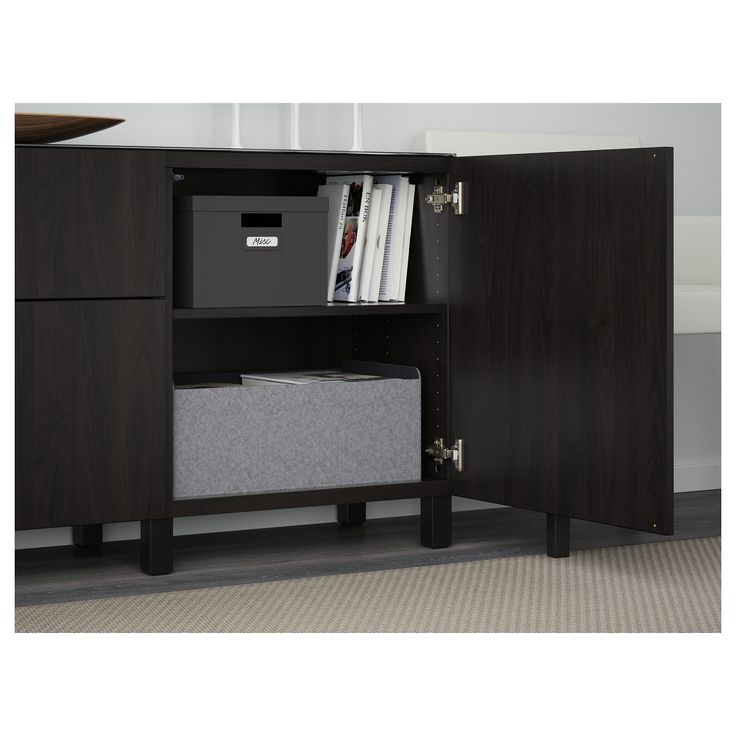 IKEA - BESTÅ Storage combination w doors/drawers Lappviken black-brown