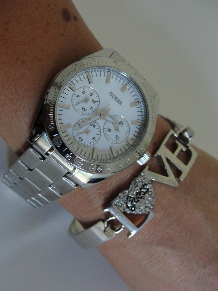 guess damen uhr lady chase silver chronograph u11043l1. Black Bedroom Furniture Sets. Home Design Ideas