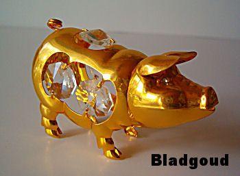 swarovski varken - bladgoud te koop voor: 9,95 euro en 6,75 euro verzendkosten uit mijn varkenscollectie