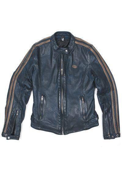Blouson de moto Helstons Angel en cuir Bovin RAG Bleu