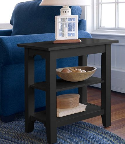 something like this, a narrow long shelf for the side of the couch??!!  Painted Cottage Two-Shelf Side Table: End Tables | Free Shipping at L.L.Bean