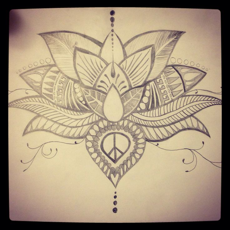Lotus Flower Tattoo With Dragonfly: Hand Drawn Lotus Flower Tattoo. Sketch. Diy. Lotus Tattoo