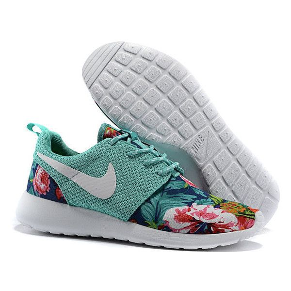Custom Nike Roshe Run Flyknit Sneakers Athletic Womens Shoes With... ($89) ❤ liked on Polyvore featuring shoes, trainers, zapatos, silver, sneakers & athletic shoes, tie sneakers, women's shoes, tie shoes, silver shoes and floral printed shoes