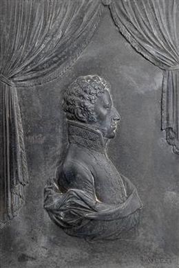 """Klemens Wenzel Lothar Fürst Metternich,    Reliefporträt, Profilbildnis in Uniform, Eisenguß, signiert """"J. Harnisch"""", 26,5 x 18 cm, um 1800"""