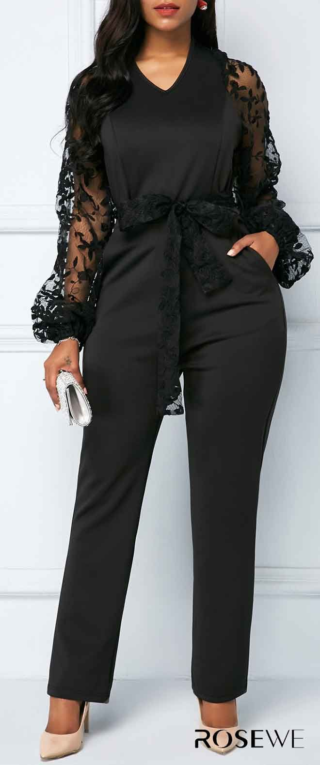 9993f4d7ea87 Gauze Panel V Neck Black Belted Jumpsuit. Free shipping worldwide! 30 days  unsatisfactory can easily return