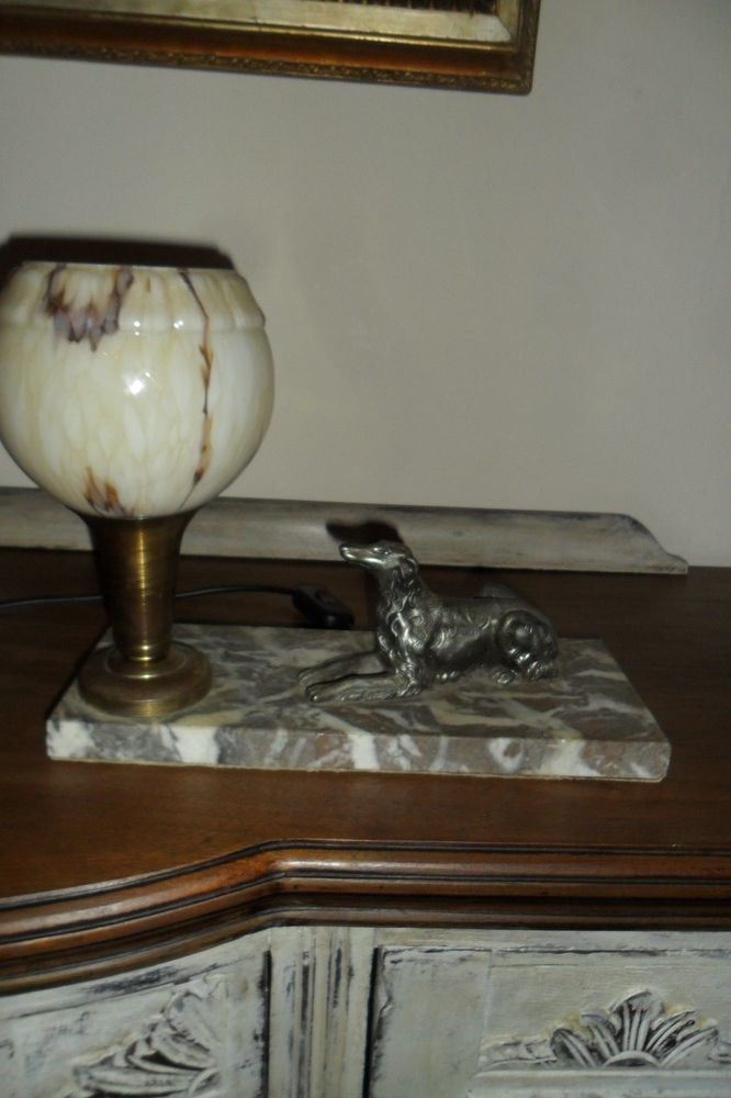 Rare Vintage French Art Deco Dog Table Lamp on Marble Base, Very good condition