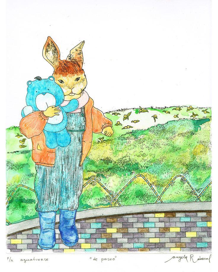 Grabado coloreado #bunny #easter #conejos