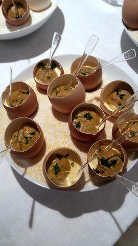 crema salata in guscio d'uovo. Ricetta di Daniel Canzian