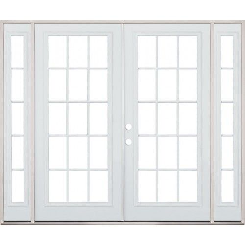 8 39 0 wide 15 lite steel patio french double door unit with for Double entry patio doors