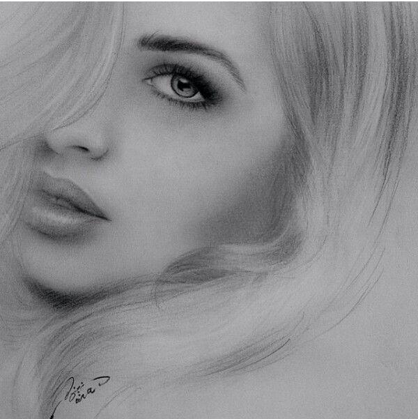 Zeichnung eines Gesichtes einer Frau. Hammer Augen