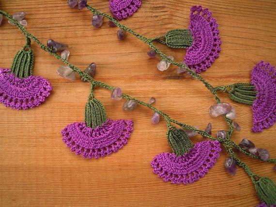 crochet necklace purple carnation turkish oya by PashaBodrum