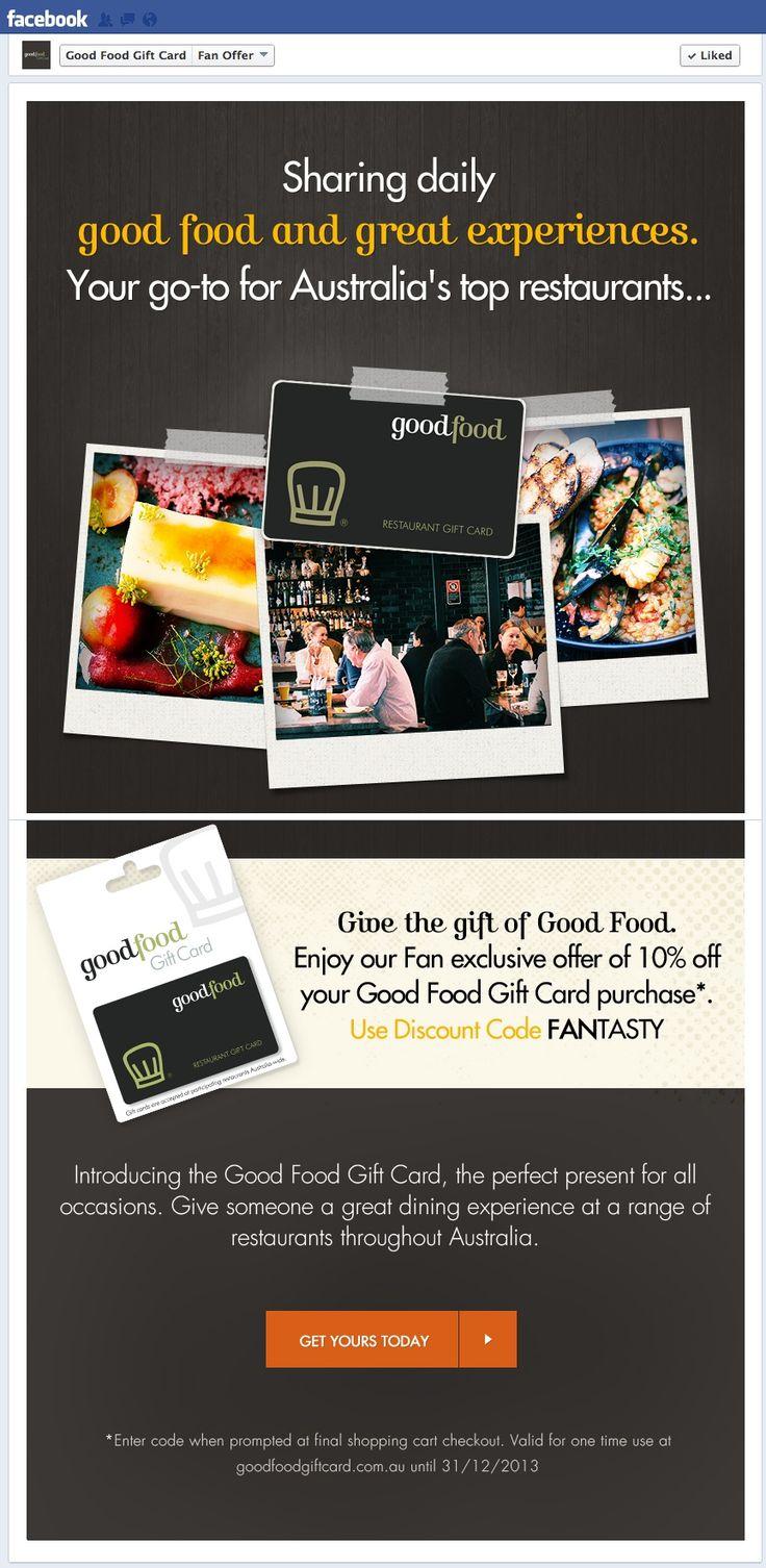 Good Food Gift Card #Facebook #LandingPage. #SocialMedia