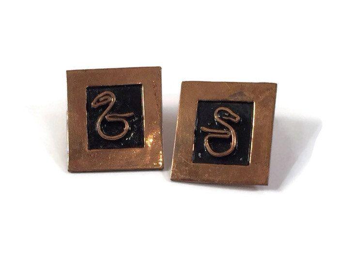 Mexican Copper Earrings Modernist Snake Design https://www.etsy.com/listing/254072693/mexican-copper-earrings-modernist-snake?utm_campaign=crowdfire&utm_content=crowdfire&utm_medium=social&utm_source=pinterest