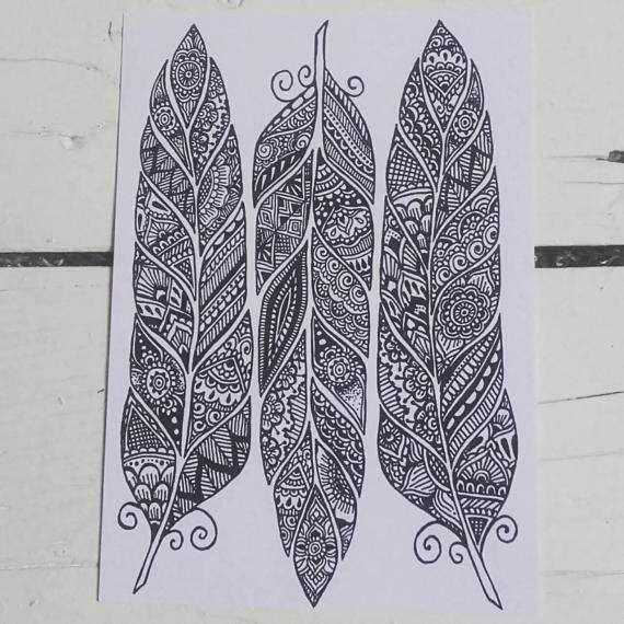 Feathers Postcard  Henna Mehndi Art  Feather Zentangle