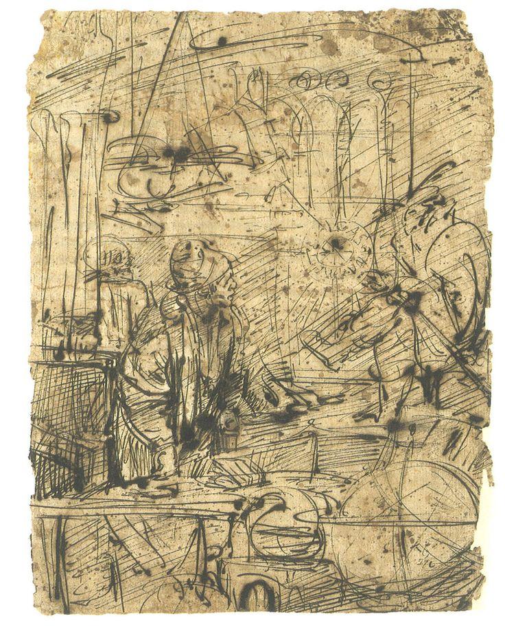 Ecole de Rembrandt, 17e siècle, Faust dans son étude, dessin à la plume, 180 x 190 mm. Copie numérique disponible sur le site du #BodmerLab.
