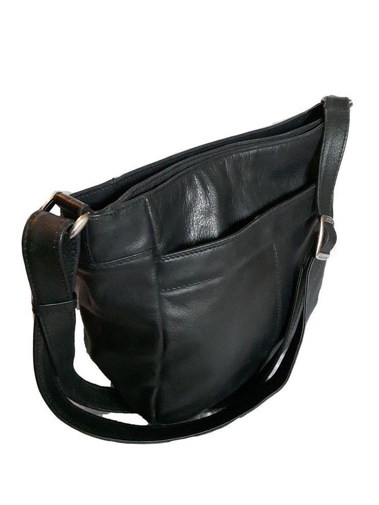 DEREK ALEXANDER Genuine Black Leather zippered Convertible Crossbody organizer #AuthenticDEREKALEXANDERluxurydesignerorganizer #Hobobucketcrossbodysatchel