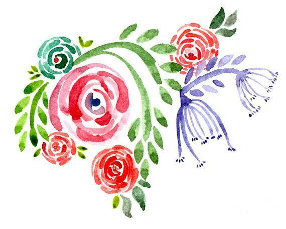 Watercolour Flowers Printable - Etsy - Little Pond Prints