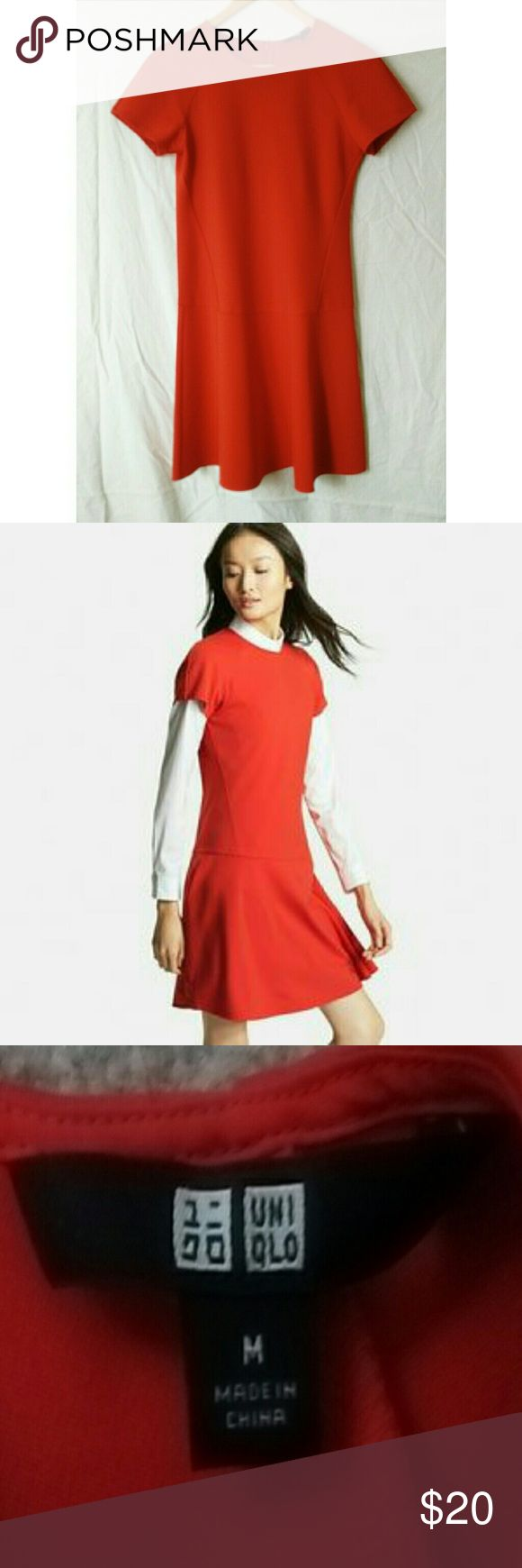 Uniqlo red skater dress size medium Nice heavier weight fabric. Only worn once. 33 1/4 inches long. Zipper up back. Uniqlo Dresses Mini