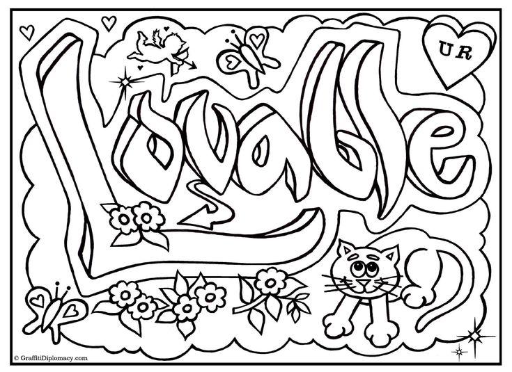 free graffiti coloring page