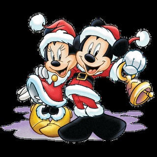 Mickey Mouse and Minnie Mouse as bell ringers